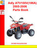 Adly ATV100V(186A) 2005-2006 Parts Book
