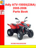Thumbnail Adly ATV-150SII(226A) 2005-2006 Parts Book