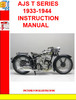 Thumbnail AJS T SERIES 1933-1944  INSTRUCTION MANUAL