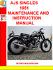 Thumbnail AJS SINGLES 1951 MAINTENANCE AND INSTRUCTION MANUAL