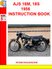 Thumbnail AJS 16M, 18S 1956 INSTRUCTION BOOK
