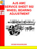 Thumbnail AJS AMC SERVICE SHEET 502 WHEEL BEARING ADJUSTMENT